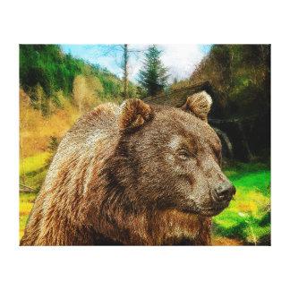 Den stora Grizzlybjörnen och härliga berg landskap Canvastryck