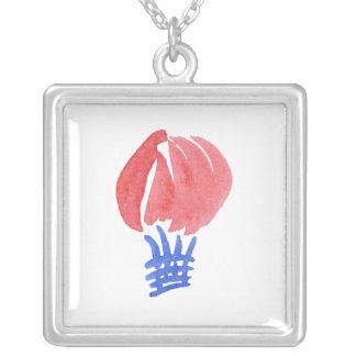 Den stora luftballongen kvadrerar halsbandet silverpläterat halsband