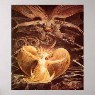Den stora röda draken och kvinnan av William Blake Poster