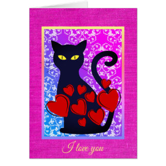 Den stora svart katten älskar jag dig det hälsningskort