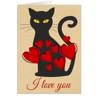 Den stora svart katten älskar jag dig hälsningskort