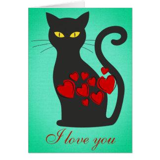Den stora svart katten älskar jag dig turkoskortet hälsningskort