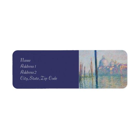 Den storslagna kanalen av Monet Returadress Etikett