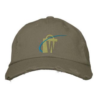Den största broderade olivgröna chinohatten för vä hatt