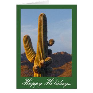 Den Sunlit Saguarokaktusen Julhälsningar Hälsningskort