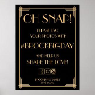 Den svart art déco guld- Gatsby Hashtag Poster