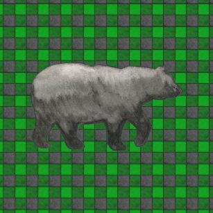 Den svart björnen på grönt rutigt kudder kudde 068ad44b93abd