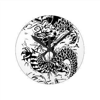 Den svart draken rund klocka
