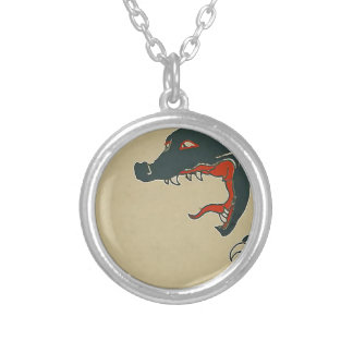 Den svart draken vrålar halsband med rund hängsmycke