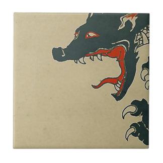 Den svart draken vrålar liten kakelplatta
