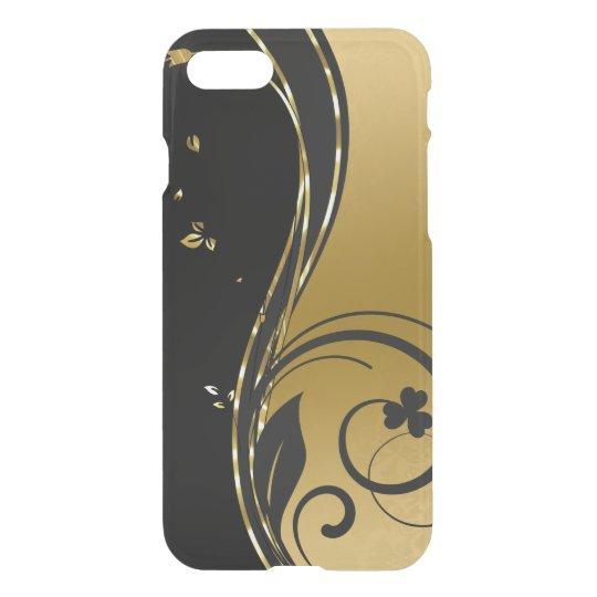 Den svart & eleganta guld- blommigten virvlar runt iPhone 7 skal