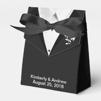 Den svart gåvan för favören för Tiebrudgumbröllop Presentaskar