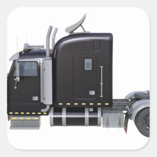 Den svart halva lastbilen med fulltljus i sida fyrkantigt klistermärke