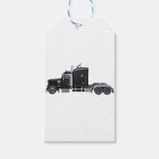 Den svart halva lastbilen med fulltljus i sida pack av presentetiketter