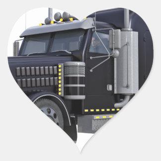 Den svart halva lastbilen med ljus på i tre hjärtformat klistermärke
