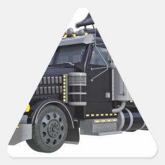 Den svart halva lastbilen med ljus på i tre triangelformat klistermärke