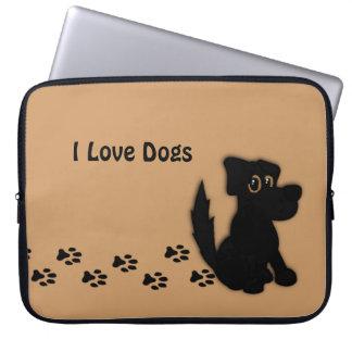 Den svart hunden går den sammanlagda beställnings- laptop sleeve