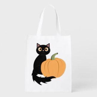 Den svart katt- och Halloween pumpabus eller godis Återanvändbar Påse