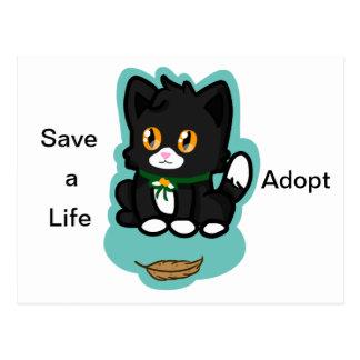Den svart katten adopterar vykort