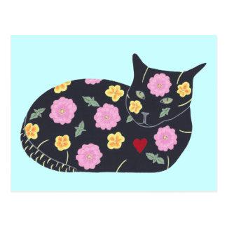 Den svart katten blommar växter som katter kan äta vykort