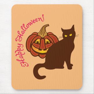 Den svart katten firar Halloween! Mus Mattor