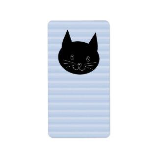 Den svart katten, med blek - slösa randbakgrund adressetikett