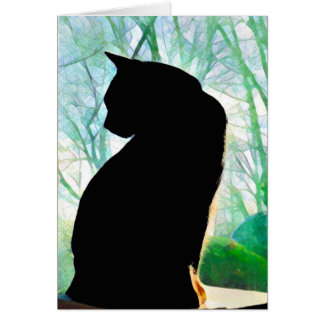 Den svart katten noterar kort