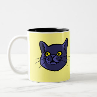 Den svart kattteckningen knäppas muggen Två-Tonad mugg