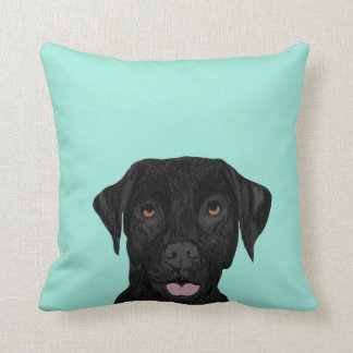 Den svart Labrador hunden kudder - gulligt svart Kudde