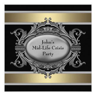 Den svart Mitt--Liv krisen bemannar den 40th födel Anpassade Inbjudningskort