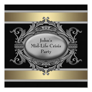 Den svart Mitt--Liv krisen bemannar den 40th Fyrkantigt 13,3 Cm Inbjudningskort
