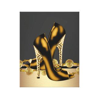 Den svart och guld- Leopardkickhälet skor boutique Canvastryck