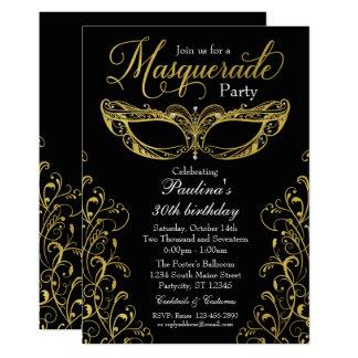 Den svart och guld- maskeraden maskerar 12,7 x 17,8 cm inbjudningskort