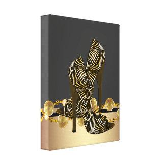 Den svart och guld- sebrakickhälet skor boutiquen canvastryck