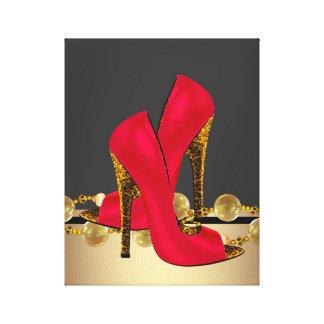 Den svart och röda Leopardkickhälet skor boutiquen Canvastryck