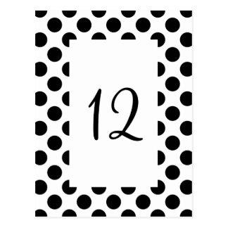 Den svart polkaen pricker bordsnummervykortet vykort