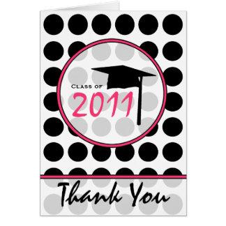 Den svart polkaen pricker/det rosa studententack hälsningskort