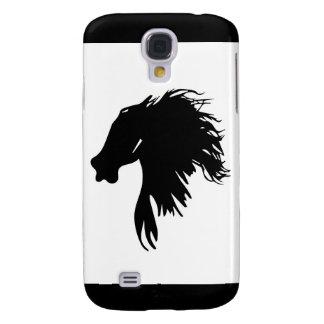 Den svart silhouetten av en häst huvud galaxy s4 fodral