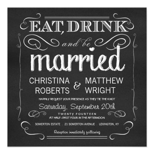 Den svart tavlan äter drinken är att gifta sig anpassningsbara tillkännagivanden