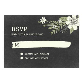 Den svart tavlan blommar kort för det OSA/Wedding 8,9 X 12,7 Cm Inbjudningskort