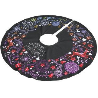 Den svart tavlan för julfirande cirklar julgransmatta borstad polyester