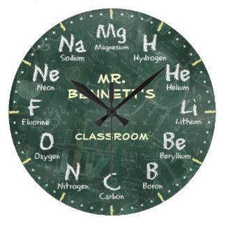 Den svart tavlan Personalizable för kemivetenskap Stor Klocka