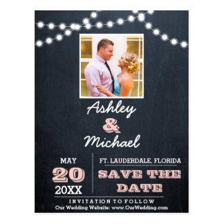 Den svart tavlan tänder rosa bröllop spara datum vykort