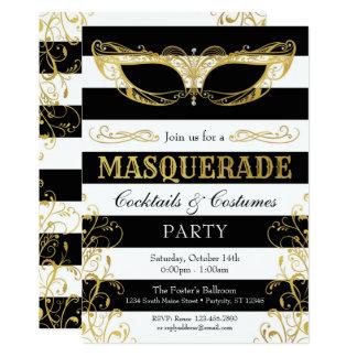 Den svart vit- & guldmaskeraden maskerar 12,7 x 17,8 cm inbjudningskort