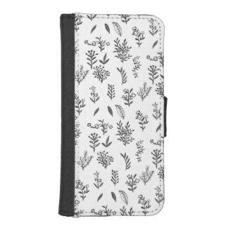 Den svart vitvattenfärgen blommar lövmönster iPhone SE/5/5s plånbok