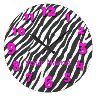 Den svart zebra ränder med rosor numrerar stor klocka