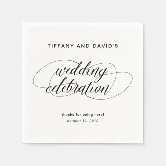 Den svartvita finare skrivar bröllop papper servett