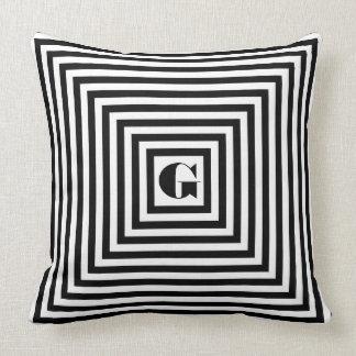 Den svartvita monogramen kvadrerar kudde