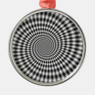 Den svartvita optiska illusionen virvlar runt julgransprydnad metall