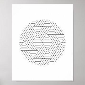 Den svartvita sexhörningen cirklar geometrisk poster